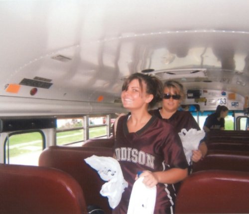 Brooke on bus before game